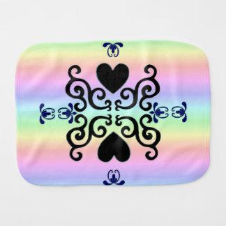 Heart and Lily on Rainbow Burp Cloth