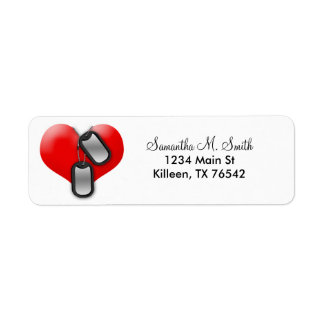 Heart and Military Dog Tags Return Address Labels