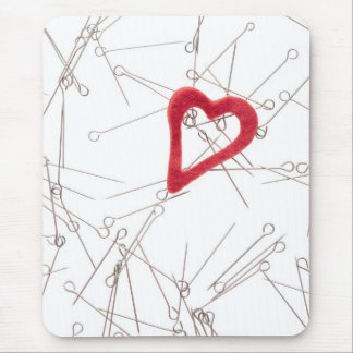 Heart and needles mouse pads