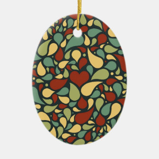 heart and paisley pattern christmas ornaments