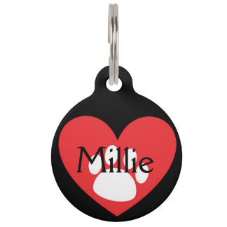Heart and Paw Customizable Pet Tag