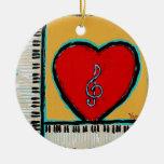heart and piano ornament