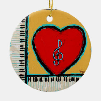 heart and piano ornament