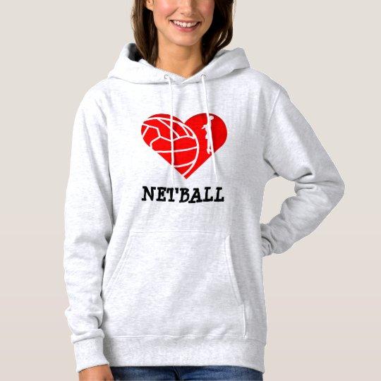Heart and Player Theme Love Netball Hoodie