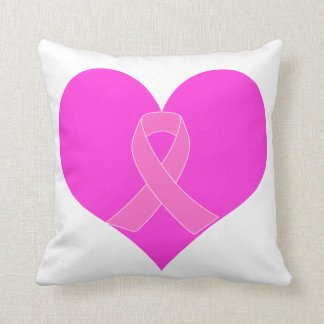 Heart and Ribbon Breast Cancer Charity Design Cushion