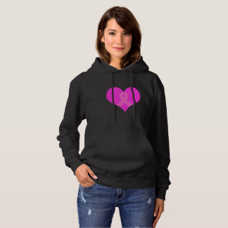 Heart and Ribbon Breast Cancer Charity Design Hoodie