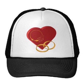 Heart and rings Congratulations Theme Trucker Hats