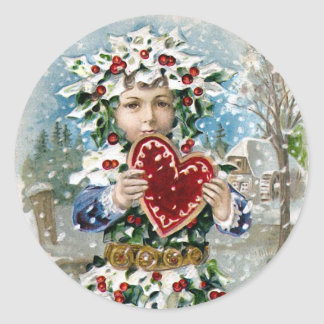 """Heart and Snow"" Vintage Christmas Classic Round Sticker"