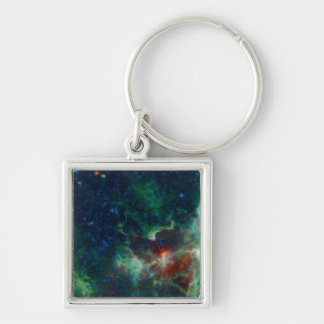 Heart And Soul Nebula Silver-Colored Square Key Ring