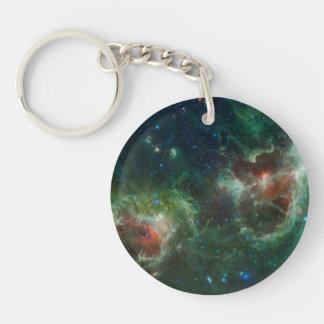 Heart and Soul nebulae infrared mosaic NASA Double-Sided Round Acrylic Key Ring