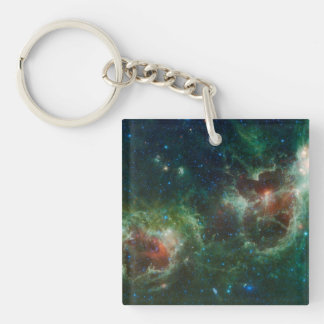 Heart and Soul nebulae infrared mosaic NASA Double-Sided Square Acrylic Key Ring