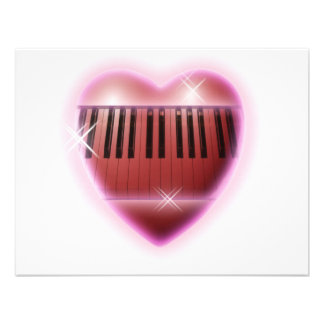 Heart and Sparkles Piano Keyboard Personalized Announcements