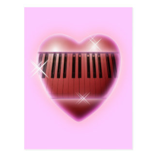 Heart and Sparkles Piano Keyboard Postcard