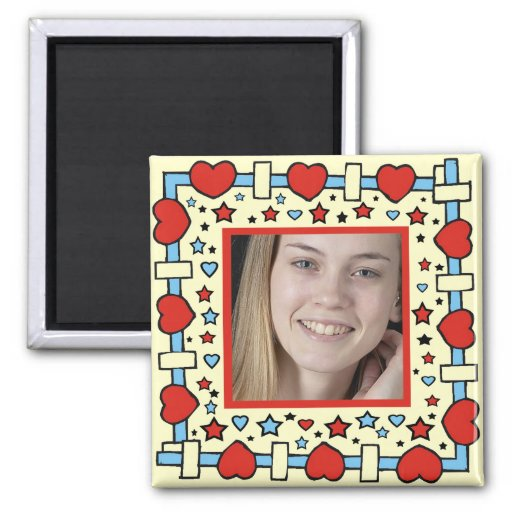 HEART AND STAR PHOTO  MAGNET