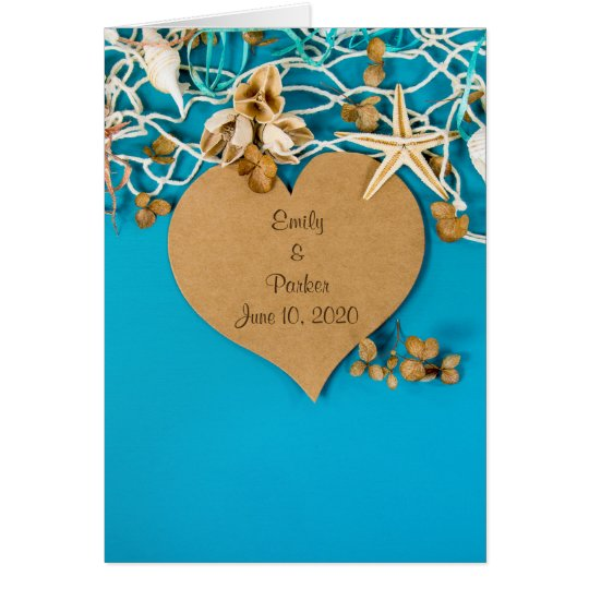 heart and starfish wedding card
