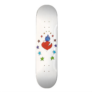 "Heart and  Stars 7 7/8"" Custom Skateboard"