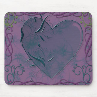 heart and swirls mouse mat