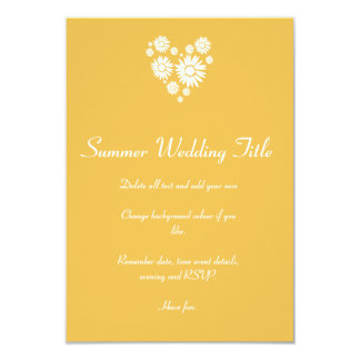 Heart and white Sunflowers Wedding Sun Invitation