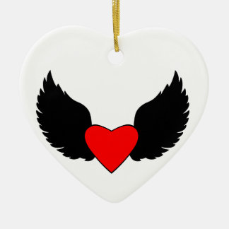 Heart and Wings Ceramic Heart Decoration