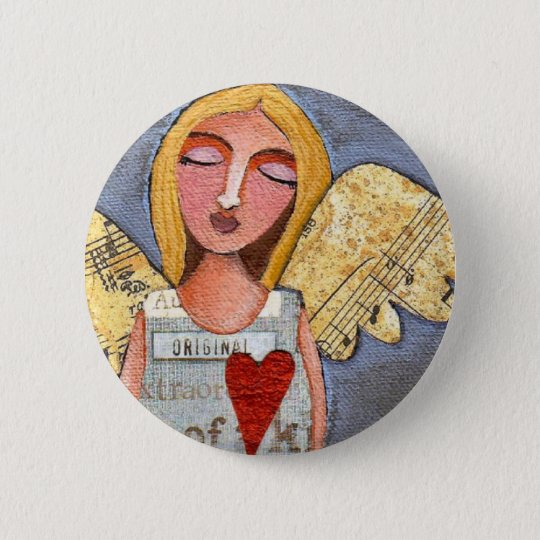 Heart Angel - angelic button