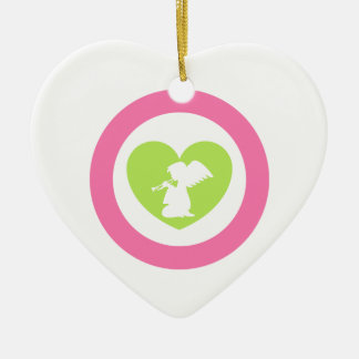 Heart Angel with Trumpet Ceramic Heart Decoration