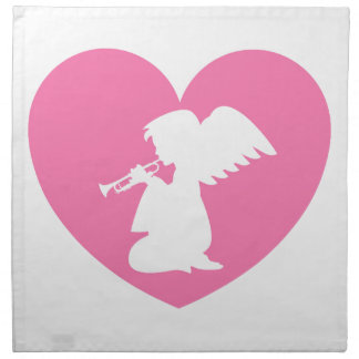 Heart Angel with Trumpet Napkin