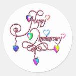heart anniversary round stickers