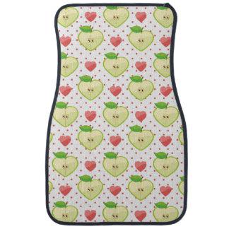 Heart Apples with Pink Polka Dots And Hearts Car Mat