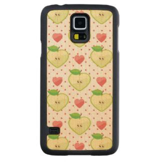 Heart Apples with Pink Polka Dots And Hearts Carved Maple Galaxy S5 Case