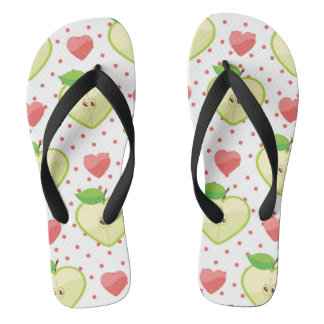 Heart Apples with Pink Polka Dots And Hearts Flip Flops