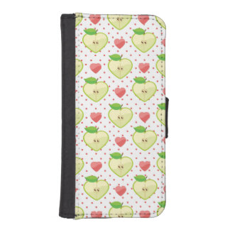 Heart Apples with Pink Polka Dots And Hearts iPhone SE/5/5s Wallet Case