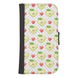 Heart Apples with Pink Polka Dots And Hearts Samsung S4 Wallet Case