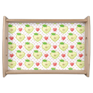 Heart Apples with Pink Polka Dots And Hearts Serving Tray