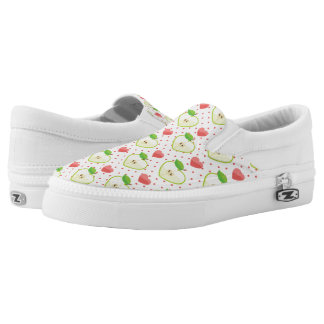Heart Apples with Pink Polka Dots And Hearts Slip On Shoes