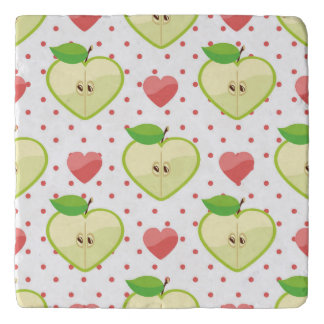 Heart Apples with Pink Polka Dots And Hearts Trivet