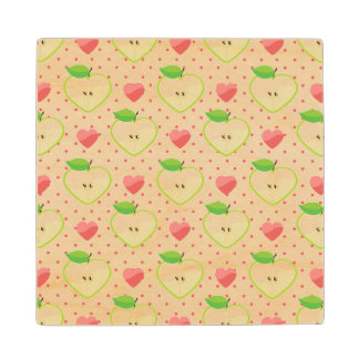 Heart Apples with Pink Polka Dots And Hearts Wood Coaster