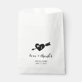 Heart & Arrow Monogram Wedding Thank You Favour Bags