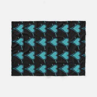 Heart & Arrow-Navy-Teal Fleece Blanket