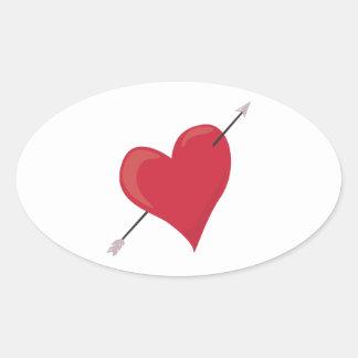 Heart & Arrow Oval Stickers