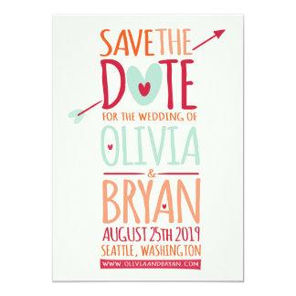 "Heart Arrow Valentine Sweet Save The Date Card 5"" X 7"" Invitation Card"