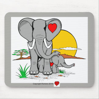 Heart Art Elephants Mouse Mat