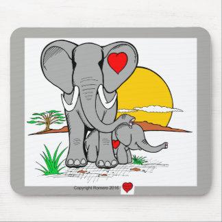 Heart Art Elephants Mouse Pad