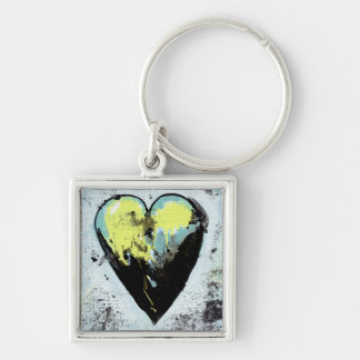 Heart art messy expressive scarred modern painting keychain