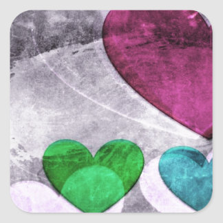 Heart Art | Pink and Blue Square Stickers
