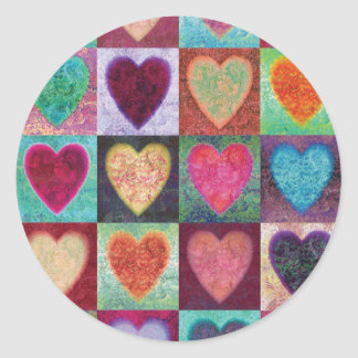 Heart Art Tiles Round Sticker