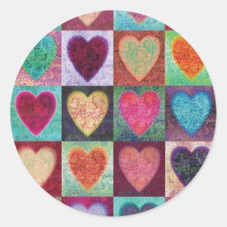 Heart Art Tiles Round Sticker