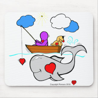 Heart Art Whale Mouse Pad