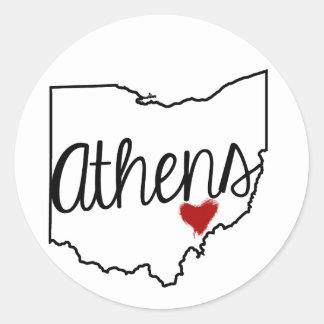 Heart Athens Round Sticker