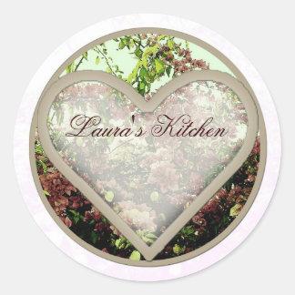 heart azaleas jar labels round sticker