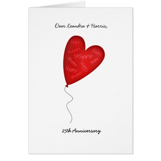 Heart Balloon 25th or Any Yr Anniversary Greeting